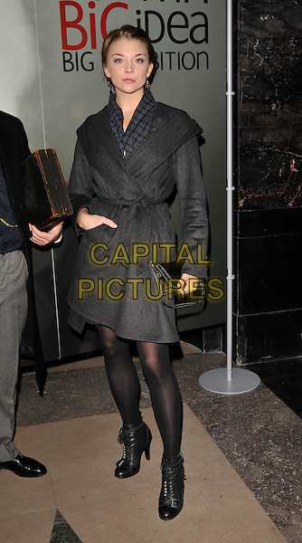 "NATALIE DORMER .The ""Darwin"" exhibition VIP Preview, Natural History Museum, London, England, November 11th 2008..full length grey gray wrap belted coat black lace-up shoes ankle boots booties .CAP/CAN.©Can Nguyen/Capital Pictures"
