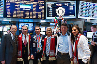 Peter Holland, New York Red Bulls General Manager Jerome de Bontin, Donald Civiltanova of Getco Securities, U.S. Soccer president Sunil Gulati, former U.S. Men's National Team star Jeff Agoos, U.S. women national team midfielder Carli Lloyd during the centennial celebration of U. S. Soccer at the New York Stock Exchange in New York, NY, on April 02, 2013.