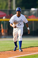 Malcom Culver #24 of the Burlington Royals takes his lead off of third base versus the Elizabethton Twins at Burlington Athletic Park July 19, 2009 in Burlington, North Carolina. (Photo by Brian Westerholt / Four Seam Images)