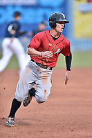 Kannapolis Intimidators third baseman Zach Remillard (8) runs to third base during a game against the Asheville Tourists at McCormick Field on April 18, 2017 in Asheville, North Carolina. The Intimidators defeated the Tourists 6-1. (Tony Farlow/Four Seam Images)