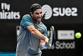 11th January 2018, Sydney Olympic Park Tennis Centre, Sydney, Australia; Sydney International Tennis,quarter final; Adrian Mannarino (ITA) in his match against Fabio Fognini (ITA)