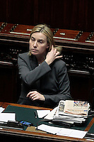 Federica Mogherini<br /> Roma 25-02-2014 Camera. Voto di fiducia al nuovo Governo.<br /> Senate. Trust vote for the new Government.<br /> Photo Samantha Zucchi Insidefoto