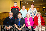 Front L-R Frank Walsh, Kate Moriarty, Marie O'Shea, Eileen Moriarty. Back L-R Nathan Moriarty O'Shea, Mary Walsh, Helan Moriarty get front row seats to enjoy the All Irish Music Concert organised by Radio Kerry at the Brandon Hotel Tralee