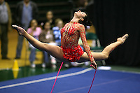 Anna Bessonova of Ukraine split leaps with rope at San Francisco Invitational on February 11, 2006. Bessonova won All-Around competition. (Photo by Tom Theobald)