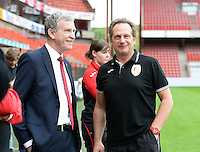 20150508 - LIEGE , BELGIUM : Standard's head coach Patrick Wachel pictured with Chairman Roland Duchatelet (left) during the soccer match between the women teams of Standard de Liege Femina and PSV Eindhoven , on the 26th and last matchday of the BeNeleague competition Friday 8 th May 2015 in Stade Maurice Dufrasne in Liege . PHOTO DAVID CATRY
