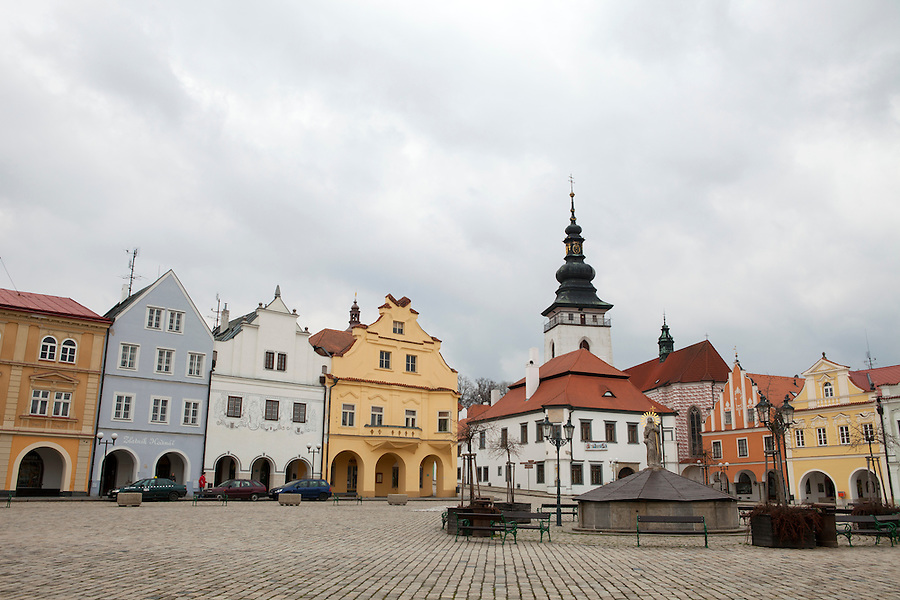 "A view of Masaryk Square in Pelhřimov, a town located approximately half-way between Prague and Brno. It is known as ""the Gateway to the Highlands"" because of its location in the westernmost tip of the Bohemian-Moravian Highlands, Czech Republic, Europe"
