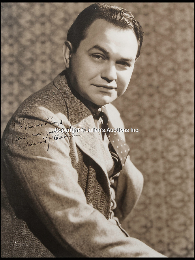 BNPS.co.uk (01202 558833)<br /> Pic: JuliensAuctions/BNPS<br /> <br /> Romanian-born American actor Edward G. Robinson.<br /> <br /> The Rogues Gallery - Unique Who's who from the halcyon days of Hollywood, collected by one of their own, comedian Harold Lloyd.<br /> <br /> The silent movie actor asked his silver screen chums to send him their best loved publicity shots one Xmas, so he could create a 'Rogues Gallery' at his Hollywood mansion.<br /> <br /> The unique collection reveals tinsel town as it preferred to see itself in its most glamourous era between the wars.