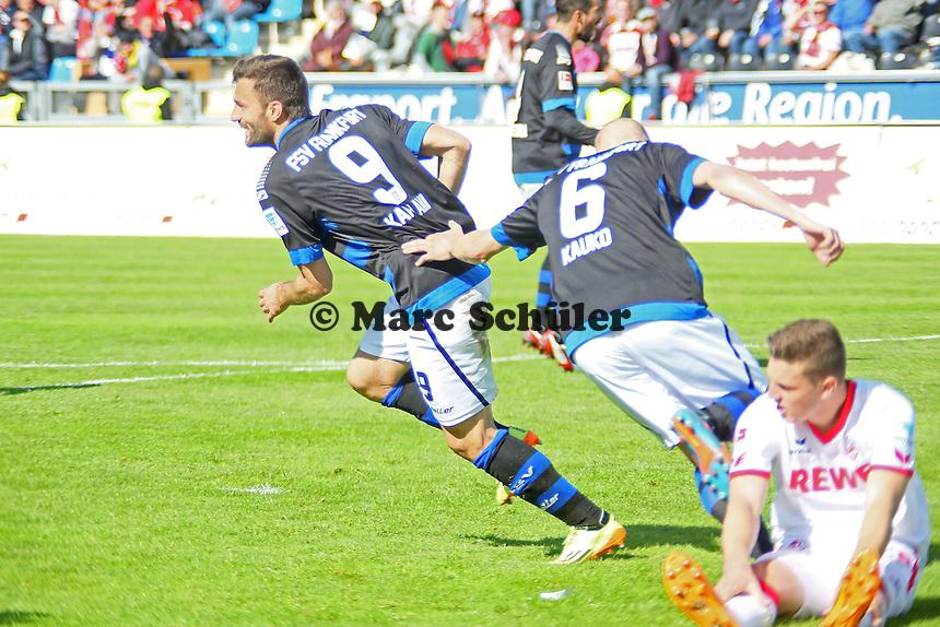 Torjubel Edmond Kapllani (FSV) beim 1:0 - FSV Frankfurt vs. 1. FC Koeln, Frankfurter Volksbank Stadion