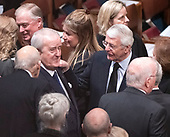 Former Prime Minister Brian Mulroney of Canada, left, and former Prime Minister John Major of Great Britain, right, converse prior to the start of the National funeral service in honor of the late former United States President George H.W. Bush at the Washington National Cathedral in Washington, DC on Wednesday, December 5, 2018.<br /> Credit: Ron Sachs / CNP<br /> (RESTRICTION: NO New York or New Jersey Newspapers or newspapers within a 75 mile radius of New York City)
