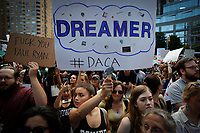 Immigrants' rights demonstrators protest aganist President Trump's decision on DACA