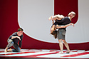London, UK. 01.10.2013. LA Dance Project come to Sadler's Wells with a mixed bill from Benjamin Millepied, the company's founder, Peck and Forsythe. This piece is REFLECTIONS by Benjamin Millepied. Dancers are: Julia Eichten, Charlie Hodges, Morgan Lugo, Nathan Makolandra and Amanda Wells. Picture shows: Nathan Makalandra, Julia Eichten and Charlie Hodges. Photograph © Jane Hobson.
