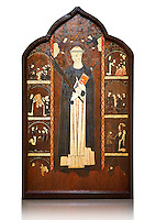 Gothic painted Altarpiece of Saint Peter Martyr by an anonymous Aragon artist. Tempera and varnished metal plate on wood. First third of 14th century. 196.5 x 121.5 x 10 cm. From Barbastre or the monastery of Santa María de Sigena (Villanueva de Sigena, Huesca).. National Museum of Catalan Art, inv no: 015820-000