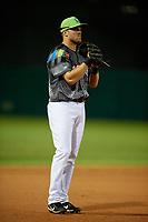Daytona Tortugas third baseman Mitch Nay (34) during a game against the Jupiter Hammerheads on April 13, 2018 at Jackie Robinson Ballpark in Daytona Beach, Florida.  Daytona defeated Jupiter 9-3.  (Mike Janes/Four Seam Images)
