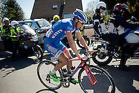 Bjorn Leukemans (BEL/Wanty-Groupe Gobert)  crashed &amp; is biting through the pain to get going again with a bruised right arm<br /> <br /> 55th Brabantse Pijl 2015