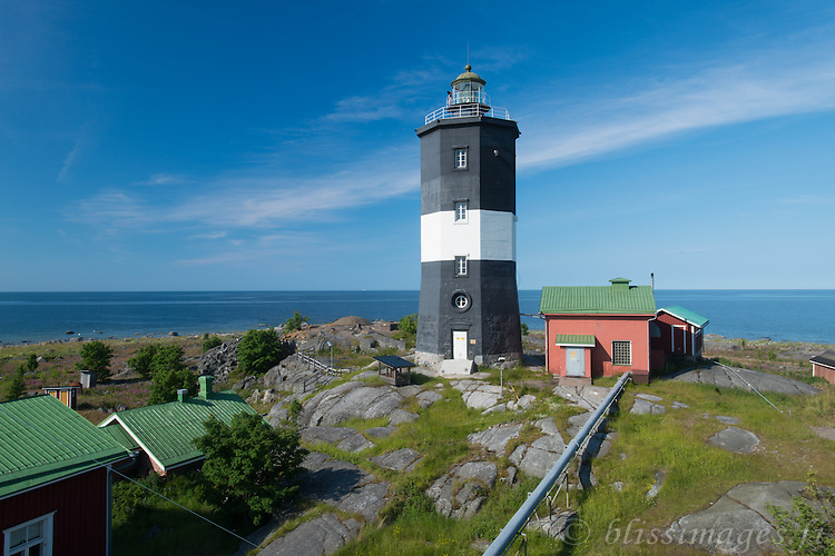 Norrskar Lighthouse sits in the  in the center of the Gulf of Bothnia, about 50 km (35 mi) west of Vaasa, Finland. Built in 1848, an octagonal old-style stone tower with lantern and gallery,