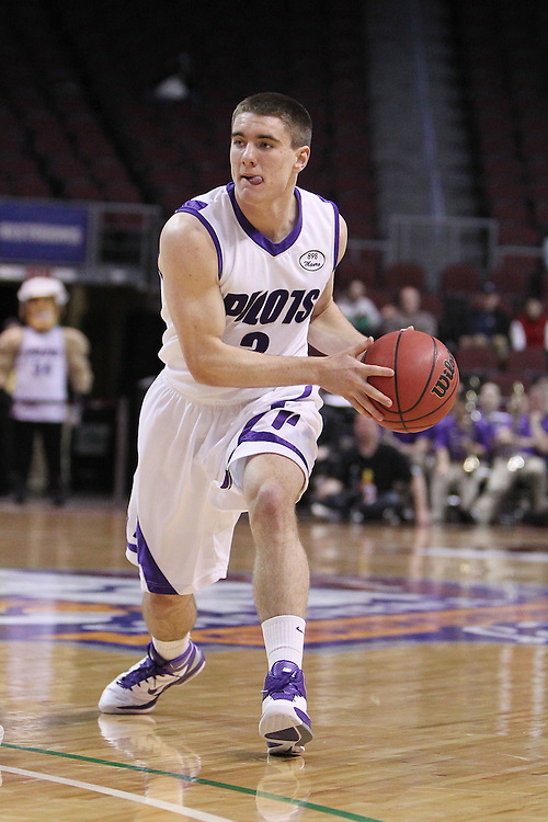 March 4, 2011; Las Vegas, NV, USA; Portland Pilots guard Tanner Riley (3) passes the ball against the Loyola Marymount Lions during the WCC Basketball Championships first round game at Orleans Arena. The Lions defeated the Pilots 72-68.