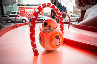"A Star Wars droid toy in the Target ""Wonderland!"" pop-up store in the Meatpacking District in New York on its grand opening day, Wednesday, December 9, 2015. According to Target the store combines physical and digital shopping using medallions given to visitors with an embedded RFID chip. Tapping the chip to an antenna near the product lets you order it. The store is an experiment in technology replacing shopping carts with chips.  (© Richard B. Levine)"