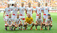 20170806 - ENSCHEDE , NETHERLANDS : Danish team  pictured during the female soccer game between The Netherlands and Denmark  , the final at the Women's Euro 2017 , European Championship in The Netherlands 2017 , Sunday 6th of August 2017 at Grolsch Veste Stadion FC Twente in Enschede , The Netherlands PHOTO SPORTPIX.BE | DIRK VUYLSTEKE