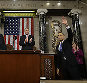 United States President Barack Obama waves and Speaker of the U.S. House of Representatives John Boehner (Republican of Ohio) applauds after the president gave his State of the Union address during a joint session of Congress on Capitol Hill in Washington, DC on February 12, 2013.   .Credit: Charles Dharapak / Pool via CNP