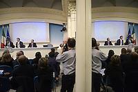Roma 18 Aprile 2014<br /> Il primo ministro Matteo Renzi, durante la  conferenza stampa a Palazzo Chigi, riferisce sulle  misure sul Bonus Irpef e di altri interventi di politica economica decisi al  termine del Consiglio dei Ministri n°14.<br />  Graziano Delrio, Matteo Renzi, Pier Carlo Padoan.<br /> Rome, Italy. 18th April  2014 -- Prime Minister Matteo Renzi reports on measures that will be undertaken in the field  economic policy interventions and tax burden reductions in the press room at the Palazzo Chigi. -- The Italian Premier, Matteo Renzi announced new measures that will be undertaken in the field economic policy interventions, and tax burden reductions in the hopes of stimulating the economy.