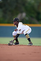 GCL Pirates second baseman Edgar Barrios (15) during a Gulf Coast League game against the GCL Twins on August 6, 2019 at Pirate City in Bradenton, Florida.  GCL Twins defeated the GCL Pirates 1-0 in the second game of a doubleheader.  (Mike Janes/Four Seam Images)