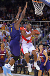 League ACB-ENDESA 2017/2018. Game: 1.<br /> FC Barcelona Lassa vs Baskonia: 87-82.<br /> Kevin Seraphin vs Jayson Granger.