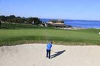 Jimmy Dunne III chips from a bunker at the 3rd green during Thursday's Round 1 of the 2018 AT&amp;T Pebble Beach Pro-Am, held over 3 courses Pebble Beach, Spyglass Hill and Monterey, California, USA. 8th February 2018.<br /> Picture: Eoin Clarke | Golffile<br /> <br /> <br /> All photos usage must carry mandatory copyright credit (&copy; Golffile | Eoin Clarke)
