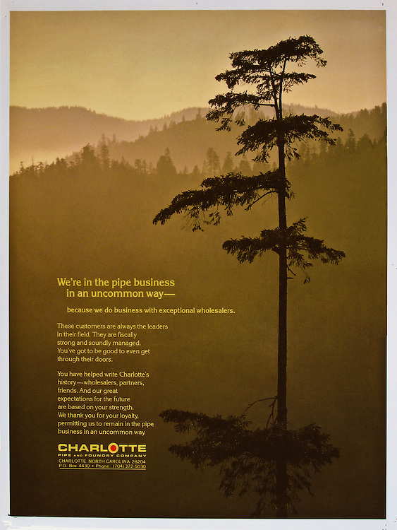 Full page magazine advertisement for pipe and foundry company using a photograph of a pine tree near the Oregon coast.