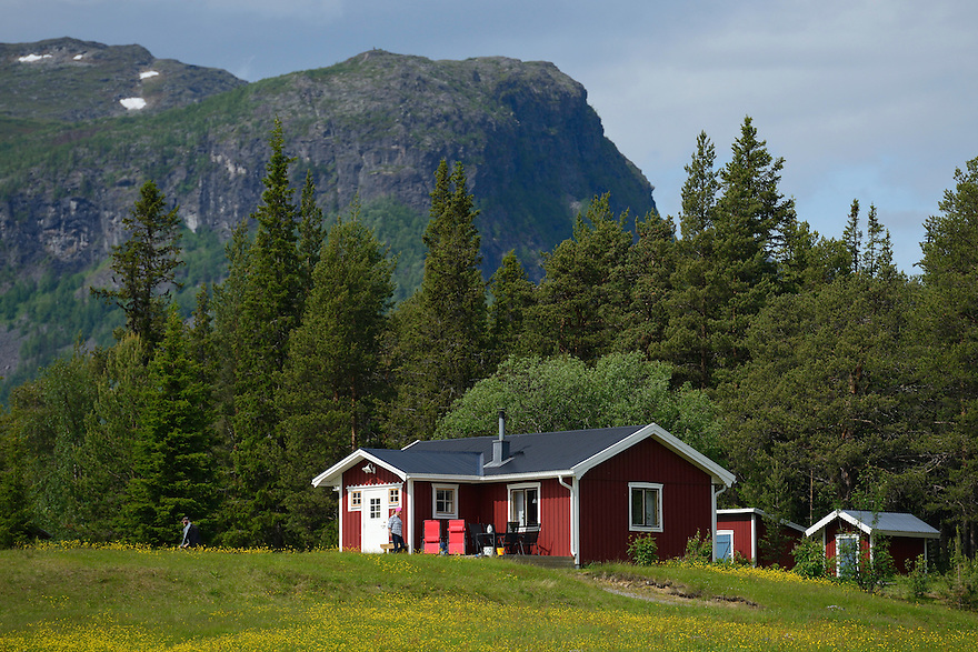 The village near The Årrenjarka lodge near Kvikkjokk and the Laponia UNESCO World Heritage Site, Greater Laponia rewilding area, Lapland, Norrbotten, Sweden