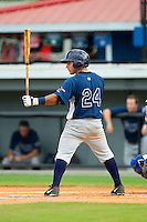 David Garcia (24) of the Princeton Rays at bat against the Burlington Royals at Burlington Athletic Park on July 5, 2013 in Burlington, North Carolina.  The Royals defeated the Rays 5-1 in game one of a doubleheader.  (Brian Westerholt/Four Seam Images)