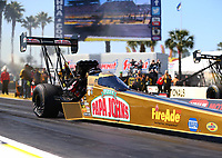 Mar 17, 2017; Gainesville , FL, USA; NHRA top fuel driver Leah Pritchett during qualifying for the Gatornationals at Gainesville Raceway. Mandatory Credit: Mark J. Rebilas-USA TODAY Sports