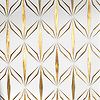 Èze, a waterjet mosaic shown in polished Thassos and brushed Brass, is part of the Liliane™ Collection by Caroline Beaupere for New Ravenna.