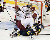 Colin Sullivan (BC - 2), Isaac MacLeod (BC - 7), Vinny Scotti (Merrimack - 25), Patrick Brown (BC - 23) - The Boston College Eagles defeated the visiting Merrimack College Warriors 4-3 on Friday, November 16, 2012, at Kelley Rink in Conte Forum in Chestnut Hill, Massachusetts.