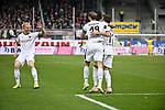 16.03.2019, BWT-Stadion am Hardtwald, Sandhausen, GER, 2. FBL, SV Sandhausen vs FC St. Pauli, <br /> <br /> DFL REGULATIONS PROHIBIT ANY USE OF PHOTOGRAPHS AS IMAGE SEQUENCES AND/OR QUASI-VIDEO.<br /> <br /> im Bild: Dennis Diekmeier (SV Sandhausen #18) und Jesper Verlaat (#4, SV Sandhausen) jubeln mit Fabian Schleusner (#11, SV Sandhausen) ueber dessen Tor zum 3:0<br /> <br /> Foto &copy; nordphoto / Fabisch