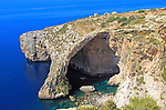 The Blue Grotto natural sea arch and cliffs, Wied iz-Zurrieq, Malta