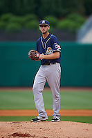 San Antonio Missions pitcher Justin Hancock (20) gets ready to deliver a pitch during a game against the NW Arkansas Naturals on May 30, 2015 at Arvest Ballpark in Springdale, Arkansas.  San Antonio defeated NW Arkansas 5-2.  (Mike Janes/Four Seam Images)