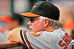 19 June 2011: Baltimore Orioles' Manager Buck Showalter watches play from the dugout during a game against the Washington Nationals on Father's Day at Nationals Park in Washington, District of Columbia. The Orioles defeated the Nationals 7-4 in inter-league play, ending Washington's 8-game winning streak. Mandatory Credit: Ed Wolfstein Photo