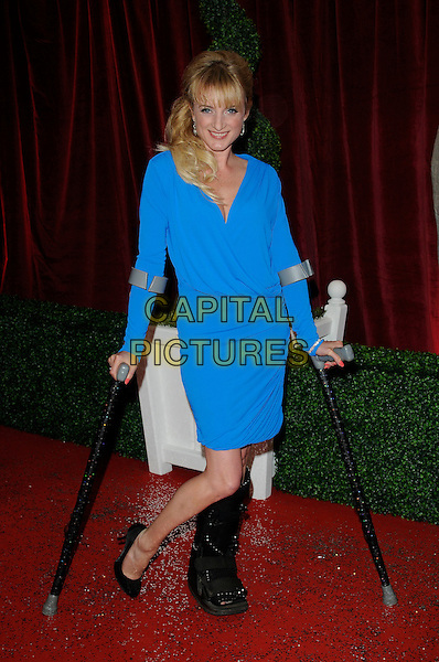 Nicola Wheeler.Attending the British Soap Awards 2012.at the London Television Centre, London, England, UK, 28th April 2012..arrivals full length blue dress crutches foot leg injured cast .CAP/CAN.©Can Nguyen/Capital Pictures.