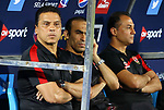 Al Ahly coach Hossam El-Badry reacts during his club match with Al-Nassr Hussein Dey club at Arab Club championship at Al-Salam Stadium in Cairo, Egypt on July 28, 2017. Photo by Amr Sayed