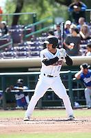 Tim Arakawa (2) of the Inland Empire 66ers bats against the Rancho Cucamonga Quakes at San Manuel Stadium on April 27, 2016 in San Bernardino, California. Rancho Cucamonga defeated Inland Empire, 2-1. (Larry Goren/Four Seam Images)