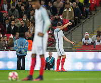 Aaron Cresswell (West Ham United) of England shows his frustration as his team concede a second goal during the International Friendly match between England and Spain at Wembley Stadium, London, England on 15 November 2016. Photo by Andy Rowland.