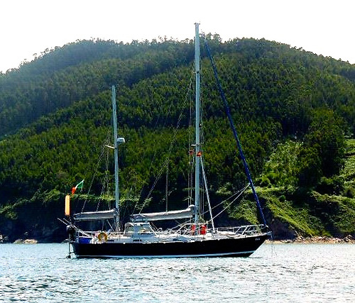Danu in a Caribbean anchorage. She is a 39ft 1993-built Bruce Roberts-designed ketch