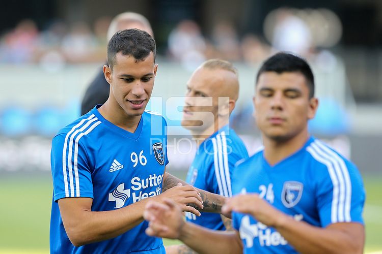 San Jose, CA - Saturday August 25, 2018: Luis Felipe prior to a Major League Soccer (MLS) match between the San Jose Earthquakes and Vancouver Whitecaps FC at Avaya Stadium.