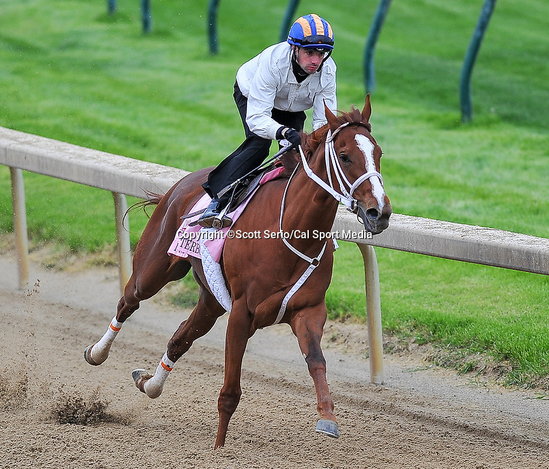 April 26, 2015: I'm A Chatterbox, trained by Kenny McPeek exercises in preparation for the 141st Kentucky Oaks at Churchill Downs in Louisville, Kentucky. Scott Serio/CSM