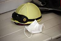10.05.2020, Hoppegarten, Brandenburg, Germany;  Jockey helmet and mouth/nose protection