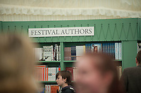 Thursday  29 May 2014, Hay on Wye, UK<br /> Pictured: People relax and browse the  book shop at the Hay Festival <br /> Re: The Hay Festival, Hay on Wye, Powys, Wales UK.