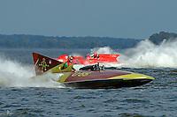"""Bill Black, U-55 """"Gale V"""" (replica of the 1955 Gold Cup winner) and Jack Schafer, U-36 """"Miss U. S."""" (1956 Lauterbach Hydroplane)"""