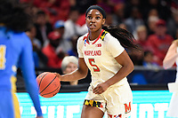 College Park, MD - March 25, 2019: Maryland Terrapins guard Kaila Charles (5) brings the ball up court during second round game of NCAAW Tournament between UCLA and Maryland at Xfinity Center in College Park, MD. UCLA advanced to the Sweet 16 defeating Maryland 85-80.(Photo by Phil Peters/Media Images International)
