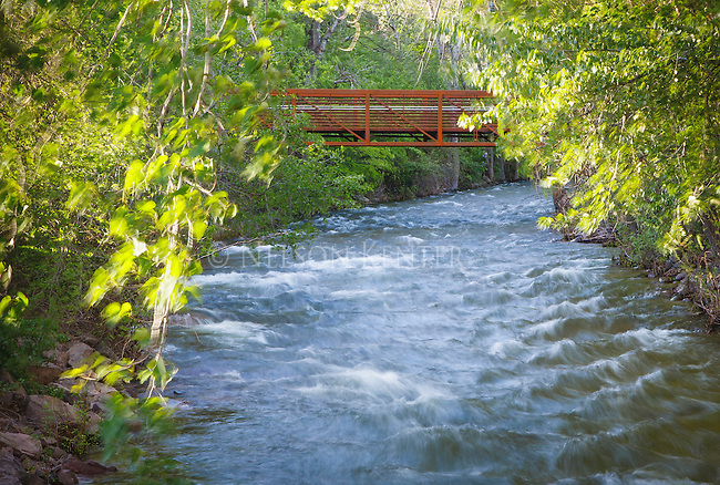 a trail bridge across the rattlesnake creek near downtown missoula, montana