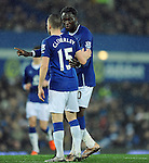 Romelu Lukaku of Everton gives team mate Tom Cleverley of Everton instructions<br /> - Barclays Premier League - Everton vs Leicester City - Goodison Park - Liverpool - England - 19th December 2015 - Pic Robin Parker/Sportimage